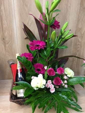 Moet Chocolate and Flower Basket