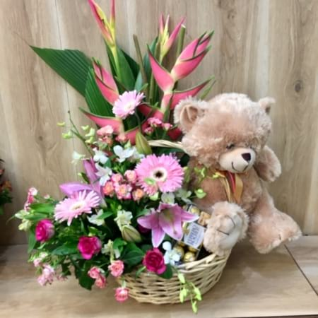 Teddy Chocolate and Flower Basket