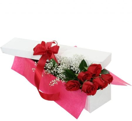 For my Love 6 long stemmed roses gift box